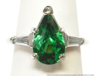 2.  89ct Gem Quality Tsavorite Garnet Diamond Platinum Ring Art Deco Pear Shape