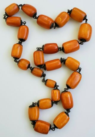 Large Antique Natural Baltic Butterscotch Eggyolk Amber Bead Necklace - 91.  5gm