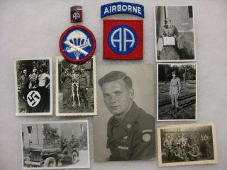 Wwii 82nd Airborne Paratrooper Photos With Patches And Pin Group D - Day