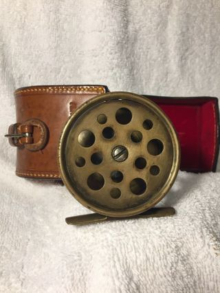 """Ultra Rare Hardy All Brass 2 3/4"""" Perfect W Hardy D Block Case Shaded Rod - hand 2"""