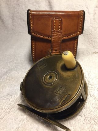 """Ultra Rare Hardy All Brass 2 3/4"""" Perfect W Hardy D Block Case Shaded Rod - hand 3"""