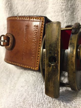 """Ultra Rare Hardy All Brass 2 3/4"""" Perfect W Hardy D Block Case Shaded Rod - hand 5"""