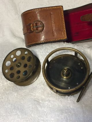 """Ultra Rare Hardy All Brass 2 3/4"""" Perfect W Hardy D Block Case Shaded Rod - hand 8"""