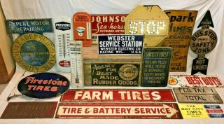 ANTIQUE OILZUM MOTOR OIL GAS SERVICE STATION TIN LITHO THERMOMETER SIGN RACE OLD 10