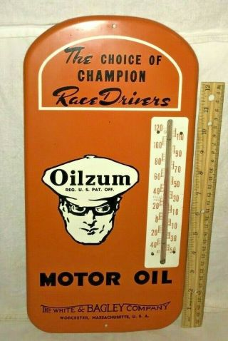 Antique Oilzum Motor Oil Gas Service Station Tin Litho Thermometer Sign Race Old