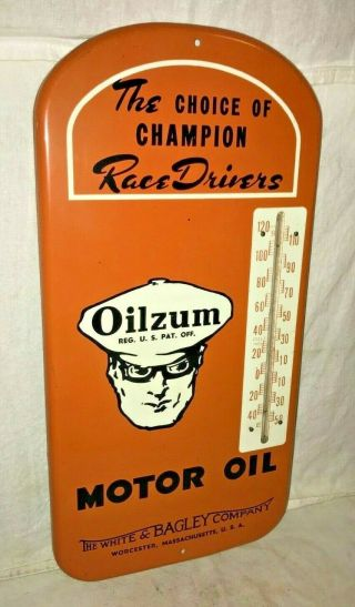 ANTIQUE OILZUM MOTOR OIL GAS SERVICE STATION TIN LITHO THERMOMETER SIGN RACE OLD 2