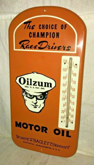 ANTIQUE OILZUM MOTOR OIL GAS SERVICE STATION TIN LITHO THERMOMETER SIGN RACE OLD 3