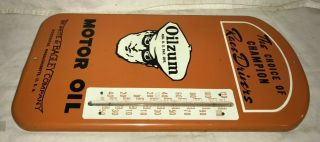 ANTIQUE OILZUM MOTOR OIL GAS SERVICE STATION TIN LITHO THERMOMETER SIGN RACE OLD 4