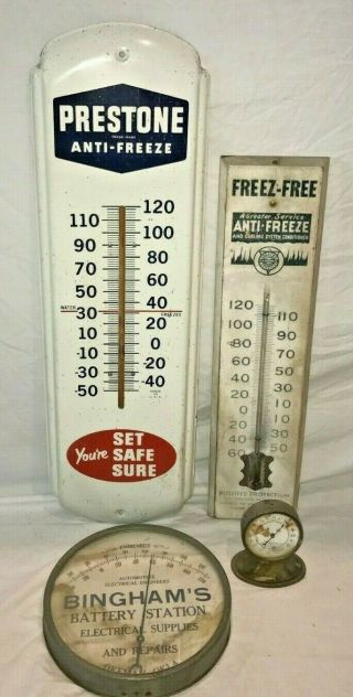 ANTIQUE OILZUM MOTOR OIL GAS SERVICE STATION TIN LITHO THERMOMETER SIGN RACE OLD 7
