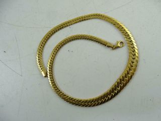 "Vintage Heavy 14k Solid Yellow Gold Graduated Necklace Chain 16.  5 "" Long 19.  9g"