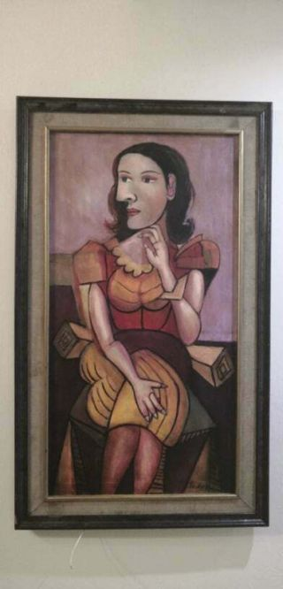 (lois) Lote By Pablo Picasso In Antique Cedar Frame