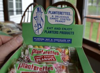 RARE Antique Planters Peanuts FULL Display Box 24 bags Candy Coated Peanuts 2