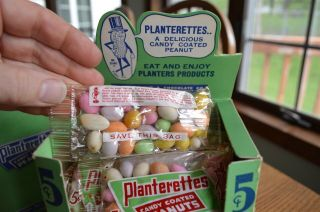 RARE Antique Planters Peanuts FULL Display Box 24 bags Candy Coated Peanuts 4