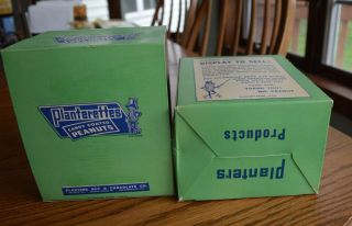 RARE Antique Planters Peanuts FULL Display Box 24 bags Candy Coated Peanuts 8