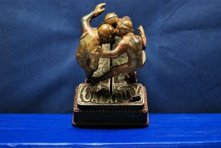 "Antique Cast Iron Mechanical Bank – J.  & E.  Stevens – "" Foot Ball Bank Calamity """