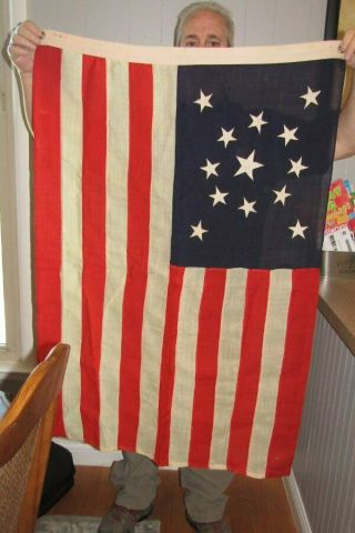 Antique 13 Star American Flag Medallion Pattern Late 1800