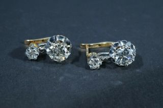 Antique French Victorian 18k Gold Old European Cut Diamond Earrings