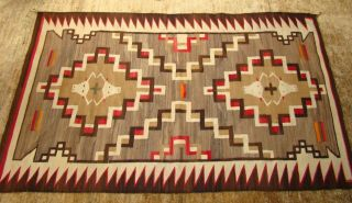 Antique Pictorial Navajo Rug Steer Heads Crosses Large 45x72