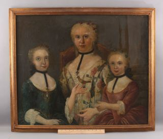 Antique 18thc American Folk Art Portrait Oil Painting,  Mother,  Daughters & Bird