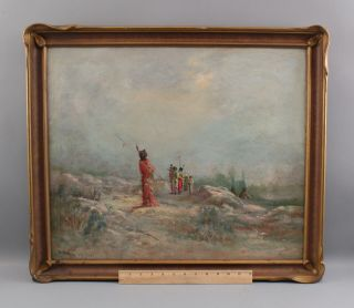 Antique Astley A.  D.  M.  Cooper Western Landscape Native American Indian Painting
