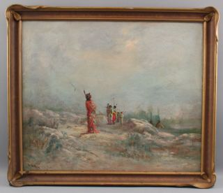 Antique Astley A.  D.  M.  Cooper Western Landscape Native American Indian Painting 2