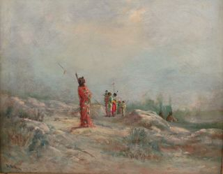 Antique Astley A.  D.  M.  Cooper Western Landscape Native American Indian Painting 3