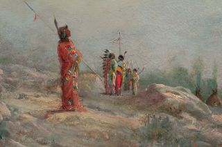 Antique Astley A.  D.  M.  Cooper Western Landscape Native American Indian Painting 4