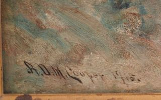 Antique Astley A.  D.  M.  Cooper Western Landscape Native American Indian Painting 5