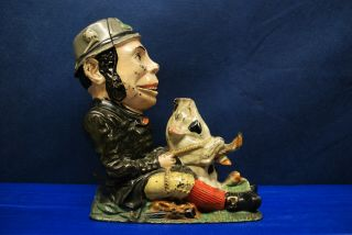 "Antique Cast Iron Mechanical Bank – J.  & E.  Stevens – ""paddy And The Pig"""