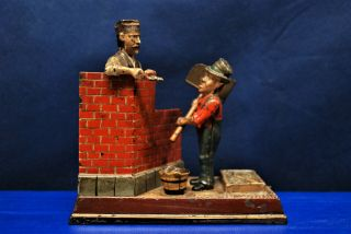 "Antique Cast Iron Mechanical Bank – Shepard Hardware – ""mason Bank"""