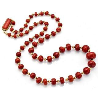 Vintage 14K Yellow Gold Red Coral Graduated Beaded Strand Necklace 147.  6 Grams 2