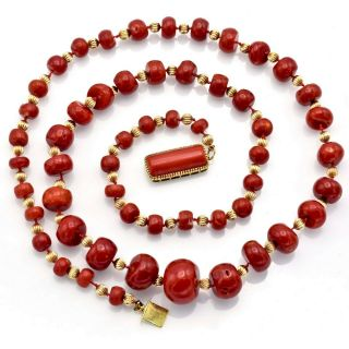 Vintage 14K Yellow Gold Red Coral Graduated Beaded Strand Necklace 147.  6 Grams 3