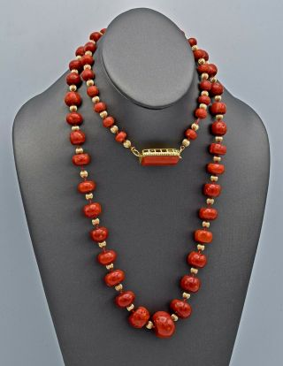 Vintage 14K Yellow Gold Red Coral Graduated Beaded Strand Necklace 147.  6 Grams 4