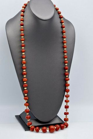 Vintage 14K Yellow Gold Red Coral Graduated Beaded Strand Necklace 147.  6 Grams 5