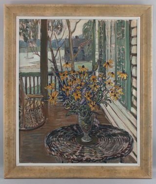 Lrg Antique RUSSELL CHENEY American Impressionist Still Life Flower Oil Painting 2
