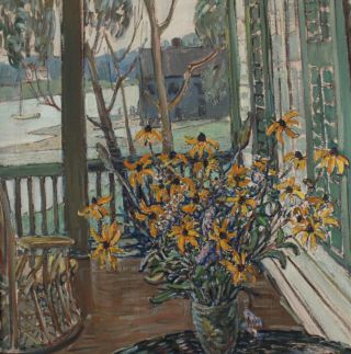 Lrg Antique RUSSELL CHENEY American Impressionist Still Life Flower Oil Painting 4