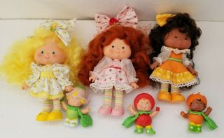 Vtg Strawberry Shortcake Dolls & Berrykins Tulip Strawberry And Orange
