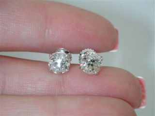Antique Diamond 2.  34ct G/vs Old Mine Stud Earrings - $30,  000 Memorial Day W@w $99
