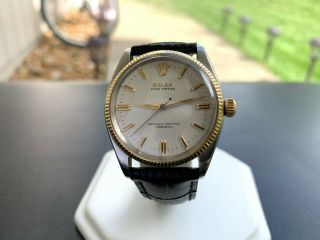 Very Rare Unpolished Vintage 1957 Rolex 6567 Oyster Perpetual Two Tone Watch