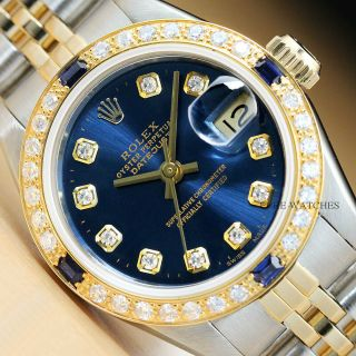 Rolex Ladies Datejust 18k Yellow Gold Diamond Sapphire & Steel Blue Dial Watch