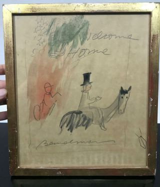 Antique Derby Race Horse Welcome Home Equestrian Dressage Art Drawing