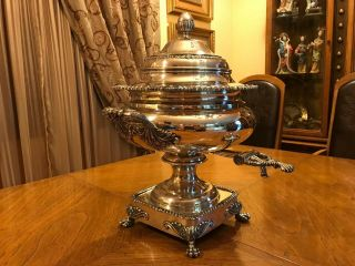 Rare Large Heavy Spanish Sterling Silver Samovar Or Water Kettle.  5035 Gr