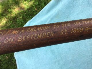 19th C.  Maryland 1869 Trophy Signed Baseball Bat Polychrome Decorated Antique 4