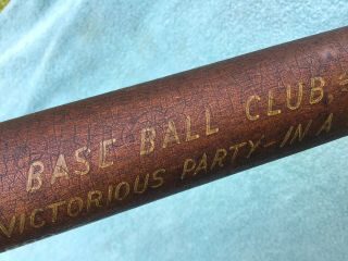 19th C.  Maryland 1869 Trophy Signed Baseball Bat Polychrome Decorated Antique 6