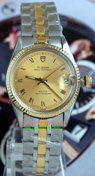 Rolex Tudor Prince Oysterdate 72033 Ss/14k Gold Roman Mid - Size 32mm Case 2824 - 2
