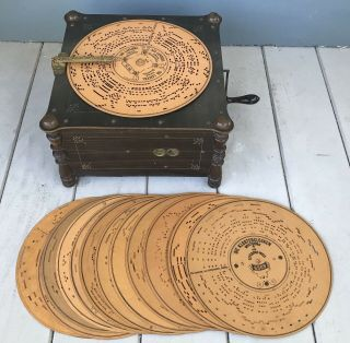 Antique 19th Century Ariston Disc Music Box Organette With 14 Discs