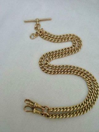 Extra Long 9ct Solid Gold Antique Albert Watch Chain/necklace.  52.  9 Gms.