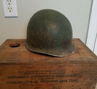 Us Wwii M1 Fixed Bale Helmet W/ Westinghouse Liner - Named