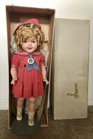 "Vintage 22"" Shirley Temple Composition Doll W/box Red Dress Shoes Ideal"