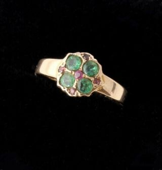 Victorian 15ct Yellow Gold Emerald & Ruby Ring.  1869.  Size O 1/2 Antique